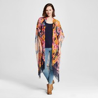 Women's Tropical Floral Printed Kimono Scarf with Fringe -Multi