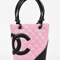 "Chanel Pink & Black Leather Quilted Small ""Ligne Cambon"" Tote"
