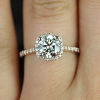 Samina 14kt  Rose Gold Round FB Moissanite and Diamonds Cushion Halo Diamond Engagement Ring (Other metals and stone options available)
