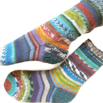 Handknit socks, Odd socks, scrappy socks, wool knit socks, mismatched socks, winter socks, warm socks, art socks, novelty socks, colorful