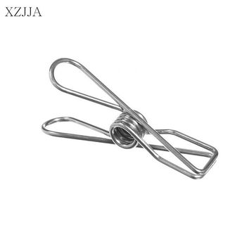 XZJJA 10Pcs Spring Stainless Steel Clothes Pegs Hanging Clothes Pins Useful Beach Towel Clips Household Bed Sheet Clothespins