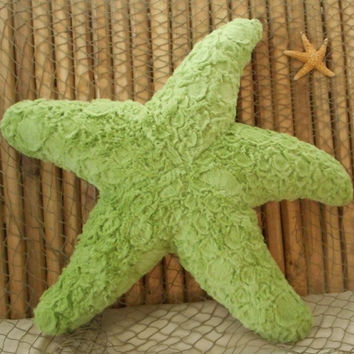 Starfish pillow, cobblestone starfish pillow, kiwi green starfish pillow, nautical pillows, beach pillows, coastal living decor