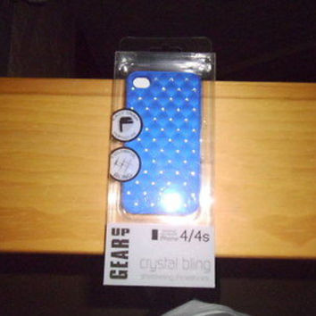 GEAR UP ROYAL BLUE, GU719, JEWELED PROTECTIVE HARD CASE FOR iPhone 4/4s