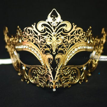 Luxury Masquerade mask - Laser Cut Filigree Metal Venetian Masks
