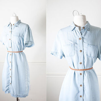 1990s Tencel Shirt Waist Dress / Vintage 90s Dress / Vintage Denim Dress / Soft Grunge Dress / 90s Grunge Dress / Retro Minimalist Fashion