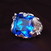 Butterfly Setting Blue Sapphire Ring