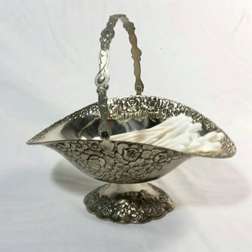 Tarnished Plated Silver Footed Basket/Holiday Imports, Inc. Made in Japan/Candy Dish Basket/Floral Silver Plated Basket/Rose Basket