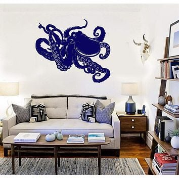Octopus Vinyl Decal Marine Animal Sea Ocean Bathroom Wall Sticker Unique Gift (ig1965)