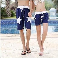 Stars Print Quick Dry Couple Beach Shorts 042213 B0603