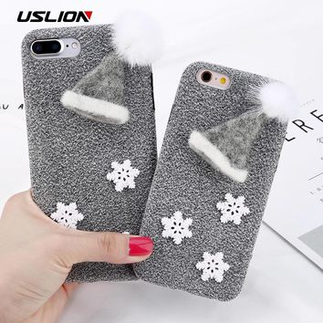 USLION 3D Christmas Hat Snowflakes Case For iPhone 6 6S Plus Phone Cases For iPhone 7 8 Plus Fuzzy Fur Ball Soft TPU Cover Capa