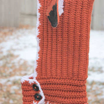Orange Angry Fox Ear Winter Hood Cowl Combo