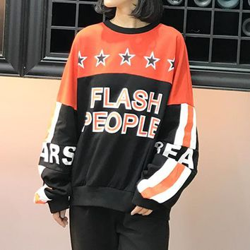 Women Casual Personality Multicolor Stitching Letter Print Loose Oversize Long Sleeve Sweater Tops