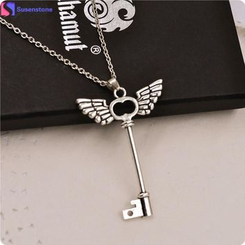 2016 arrival women necklace girl Angel wings Key Friendship Pendant Long Chain Silver Necklace Jewelry vintage chain kolye #0