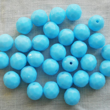 Lot of 25 8mm Opaque Turquoise Blue Czech glass beads, firepolished, faceted round beads, C90125