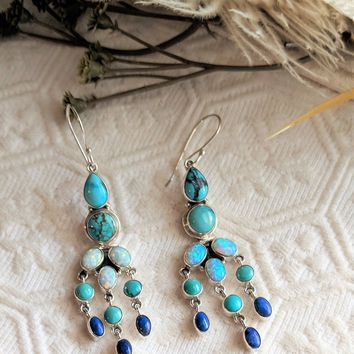 Artisan Crafted Sterling Silver Opal Turquoise Lapis Lazuli Chandelier Earrings