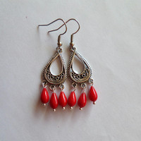arabian earrings - coral earrings - drop earrings - tibetan earrings - red earrings - fire red
