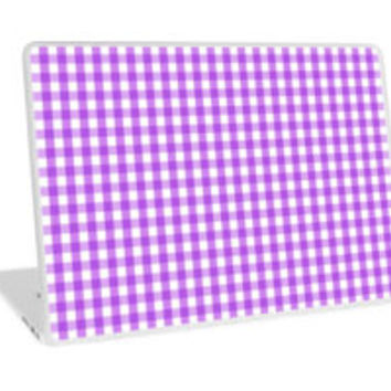 Purple White Gingham Check Pattern by TigerLynx