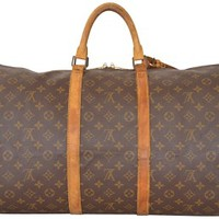 Louis Vuitton Keepall 55 Monogram Carry On Duffle Luggage M41424 Brown Travel Bag 72% off retail