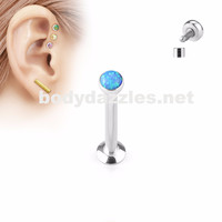 Blue Opal  Flat Top Internally Threaded Surgical Steel Labret Stud for Lip, Chin, Ear Cartilage Piercings