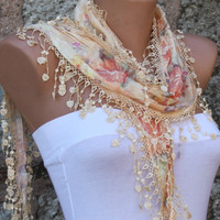 Multicolor Scarf  - Cotton  Scarf - Cowl  Scarf with Lace Edge - fatwoman