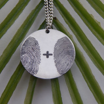 Two Fingerprints Pendant Necklace