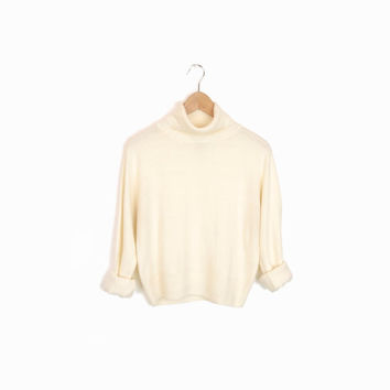 Vintage 90s Cropped Turtleneck Sweater in Ivory - small/medium