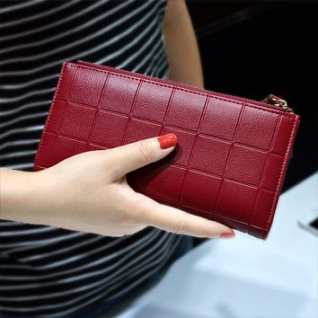 Women Leather Purse Plaid Wallets Long Ladies Colorful Walet Red Clutch 10 Card Holder Coin Bag Female Double Zipper Wallet Girl
