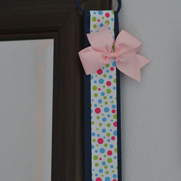 Hair Bow Holder Organizer - Navy Blue and Colored Polka Dots