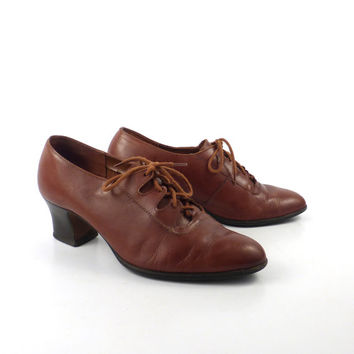 Oxford Leather Shoes Brown Vintage 1980s Heeled Women's size 7 1/2