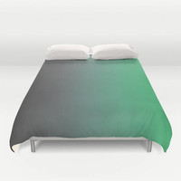 Ombre Bed Cover - Duvet Cover Only -  Duvet Cover -  Bed  Spread - Gray to Green - Bedroom Decor - Made to Order