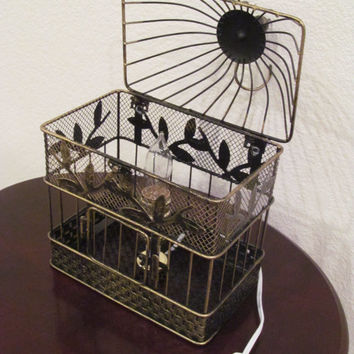 Rustic Bird Cage Lamp / Vintage Style Table Lamp / Western Decor Lamp / Desk Light