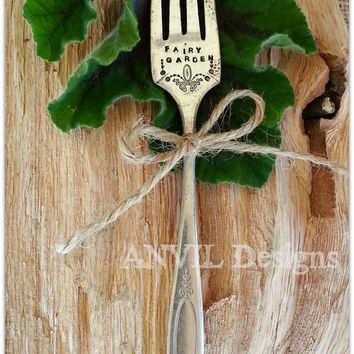 Fairy Garden - Antique Silverware Fork Garden Marker - Fancy Vintage Silver Fork - Window Box