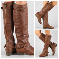 TAN Riding Boots Back Zipper Buckle Strap Rustic Brown Knee High Womens Fashion