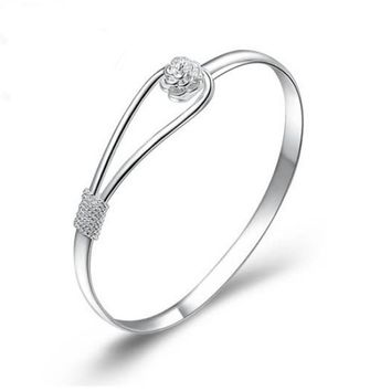 Solid Silver Flower Clasp Bangle Bracelet FREE SHIPPING
