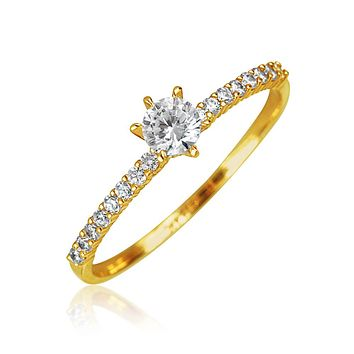 Real 14K Yellow Gold .25 CT AAA CZ Solitaire Engagement Ring Thin Band