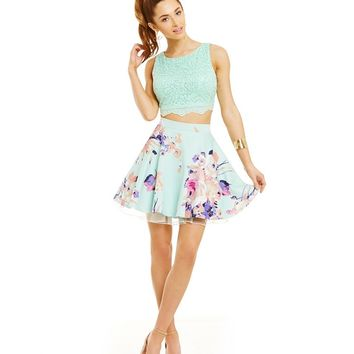 Jodi Kristopher Sequin Lace Crop-Top & Floral-Printed Skirt Two-Piece Dress | Dillards