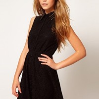 Little Mistress | Little Mistress Studded Collar Lace Skater Dress at ASOS