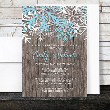 Rustic Winter Bridal Shower Invitations - Country Rustic Winter Wood Snowflake - Printed Invitations