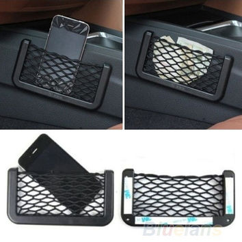 Universal Car Seat Side Back Storage Net Bag Phone Holder Pocket Organizer Black