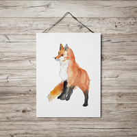 Cute fox art Nursery print Watercolor poster ACW46