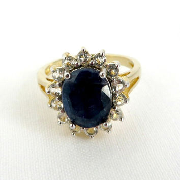 Vintage Sapphire Engagement Ring, 14K Gold Over Sterling Silver, Genuine Sapphire Ring Size 7