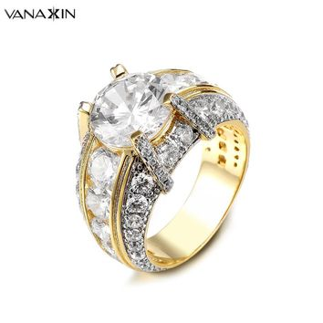 VANAXIN Fashion Clear Cubic Zirconia Ring Mens Womens Rings Jewelry Engagement Big Rings For Women Two Tone Gold/Silver Color