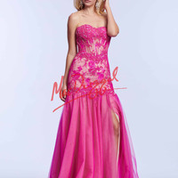 Strapless Mac Duggal Lace Prom Gown 10036M