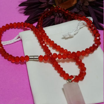 Red crystal with rose gemstone horn necklace elegant