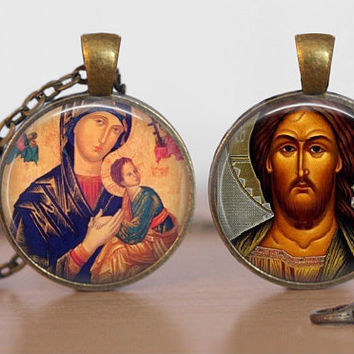Orthodox Icon Pendant Byzantine Glass Tile Religious Necklace Double Sided Theotokos Jesus Christ
