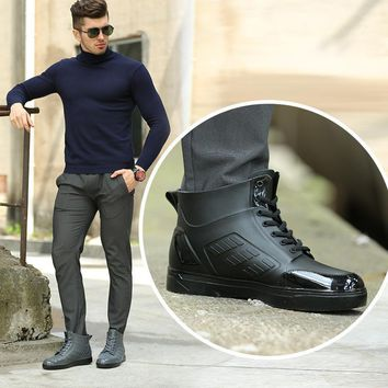 2017 ankle boots for men rain boots summer boots PVC rainboots solid cross-tied fashio
