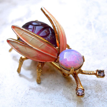 Bug Fly Insect Brooch Pin by WARNER, Purple Scarab, Glass Fire Opal, Signed Vintage