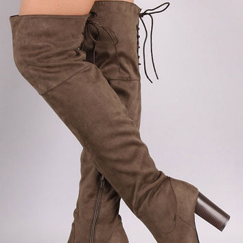 Over the Knee Lace Up Boots with Heel - Brown