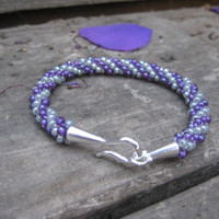 Purple and Smoky Grey Beaded Bracelet