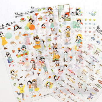 6 Sheets Heeda Girls PVC  Sticker Korean Style Cute Kawaii Planner Stickers for Notebook Diary  Deoration